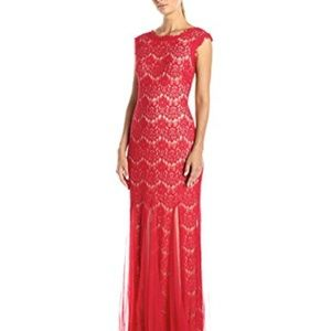 Betsey & Adam formal red lace dress